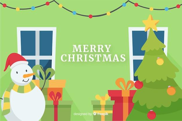 雪だるまとフラットクリスマス背景 無料ベクター
