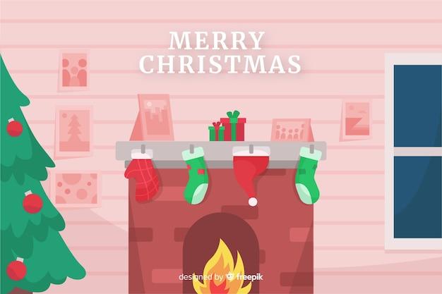 火の煙突とフラットクリスマス背景 無料ベクター