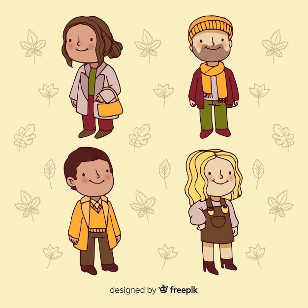 秋の服を着ている人 無料ベクター