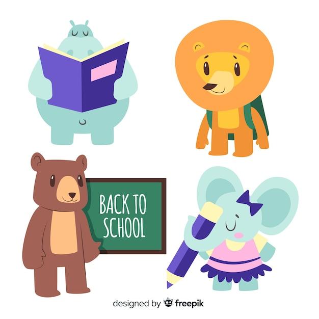 学校の動物コレクションに戻る 無料ベクター