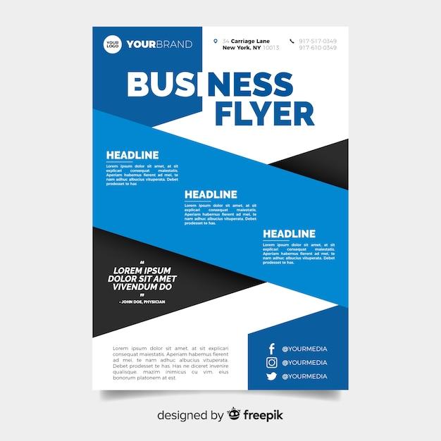 Бизнес флаер шаблон с корпоративным дизайном Бесплатные векторы