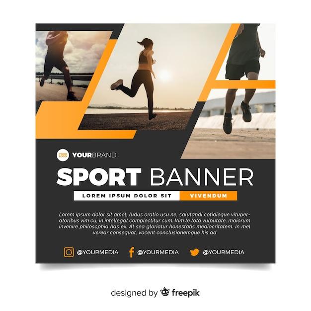 Современный спортивный баннер с изображением Бесплатные векторы