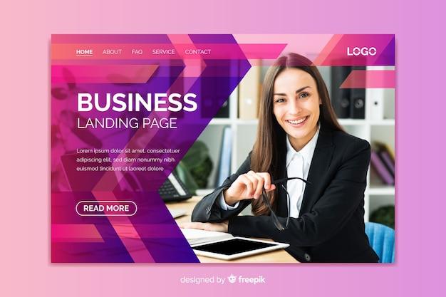 画像を含むプロフェッショナルなビジネスランディングページ 無料ベクター