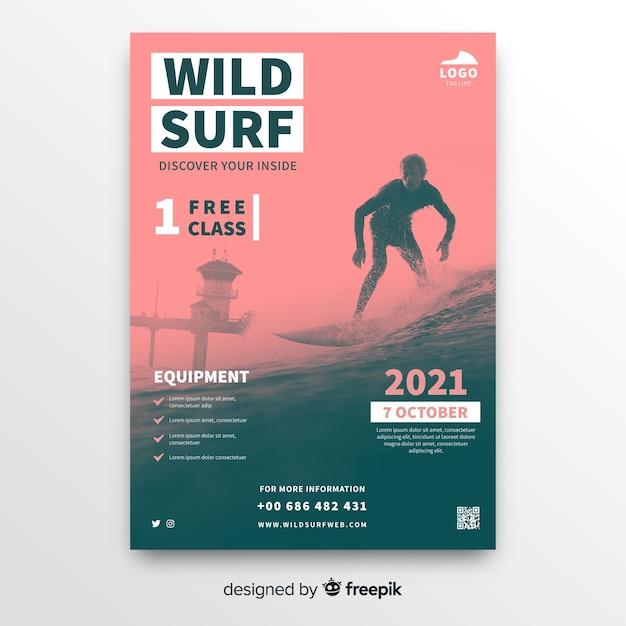 ワイルドサーフィンスポーツポスターテンプレート 無料ベクター