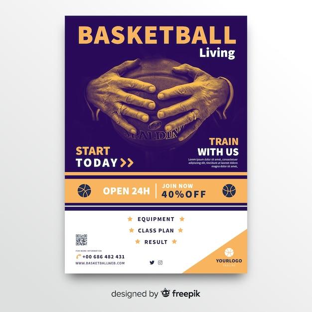 バスケットボールスポーツポスターテンプレート 無料ベクター