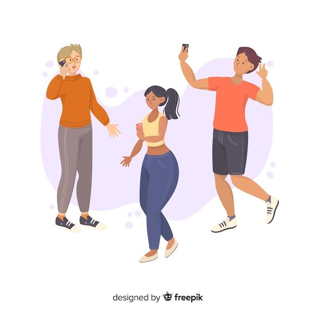 スマートフォンを保持している若い人たちのグループ 無料ベクター