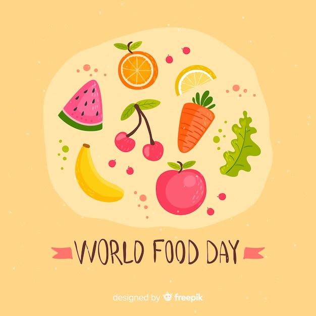 フラットスタイルの世界の食糧日 無料ベクター
