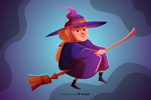 Реалистичный мультфильм хэллоуин ведьмы Бесплатные векторы