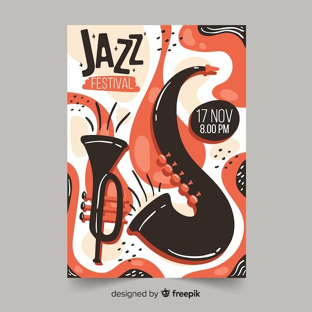 テンプレート手描きのジャズ音楽ポスター 無料ベクター