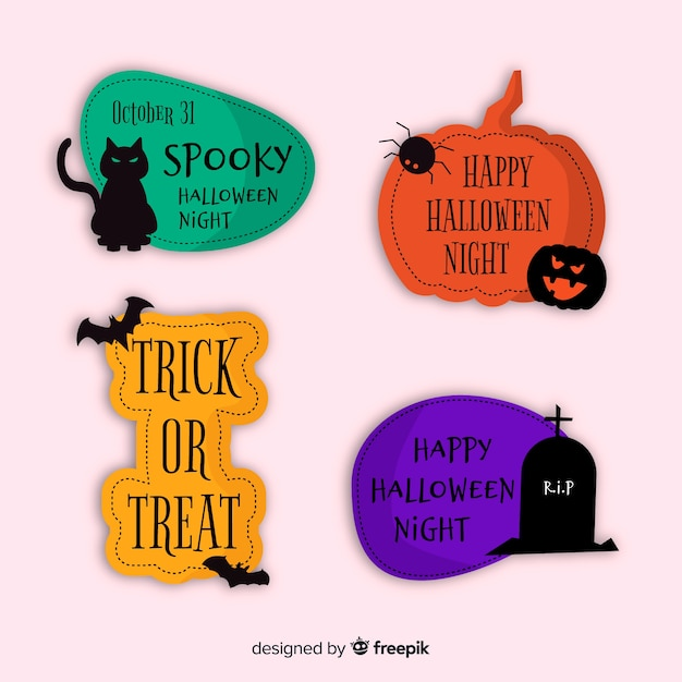 Хэллоуин традиционные цитаты для коллекции этикеток и значков Бесплатные векторы