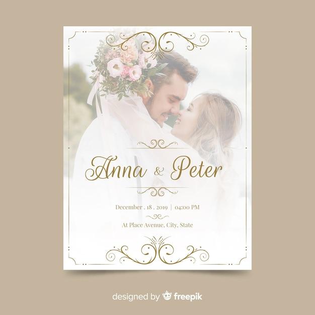 写真の観賞用の結婚式の招待状のテンプレート 無料ベクター