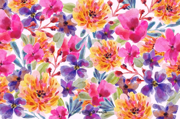 水彩のカラフルな花の背景 無料ベクター