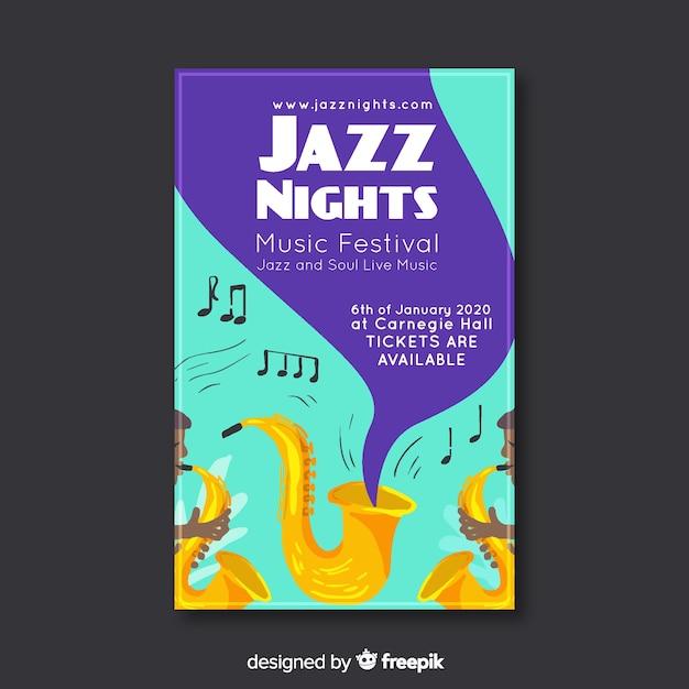 手描きスタイルのジャズ音楽ポスター 無料ベクター