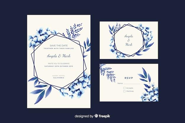 水彩花の結婚式の招待状のテンプレート 無料ベクター