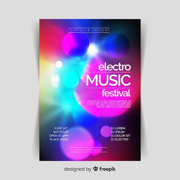 Музыкальный плакат с абстрактным световым эффектом Бесплатные векторы