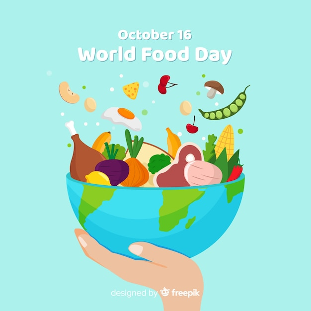 Всемирный день еды чаша вкусной еды Бесплатные векторы