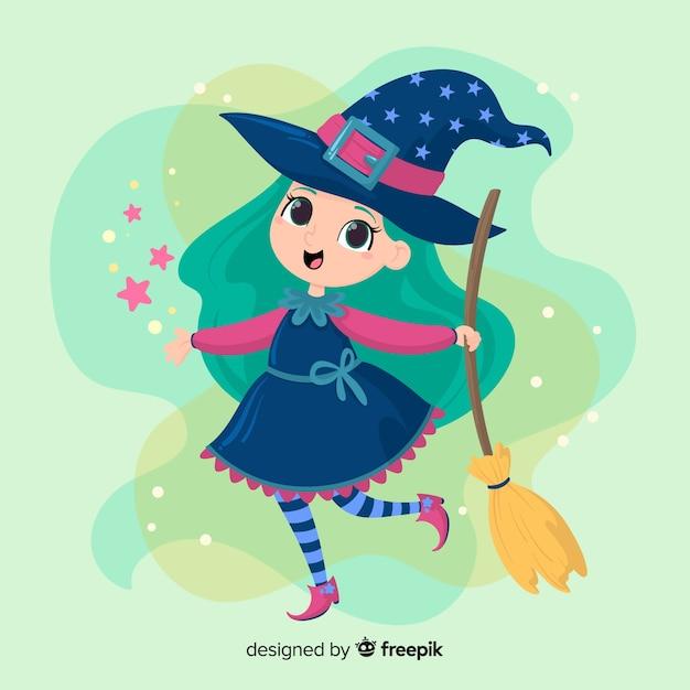 キラキラと青い髪のかわいいハロウィーン魔女 無料ベクター