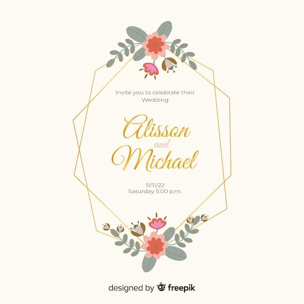 花のフレームの結婚式の招待状のフラットなデザイン 無料ベクター