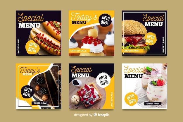 Кулинарный инстаграм пост коллекция с фото Бесплатные векторы