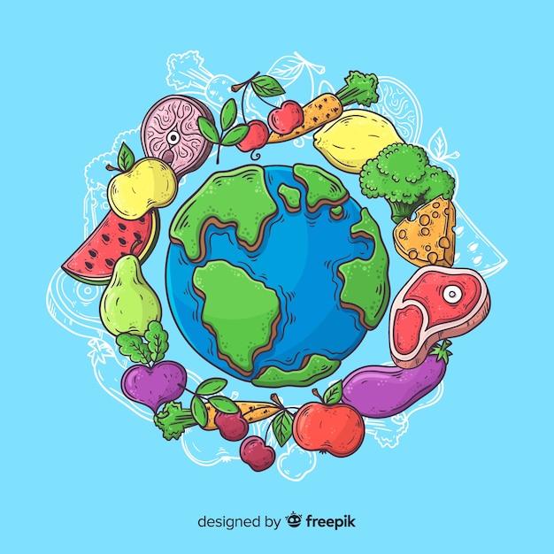 手描きの野菜とステーキで世界の食べ物の日 無料ベクター