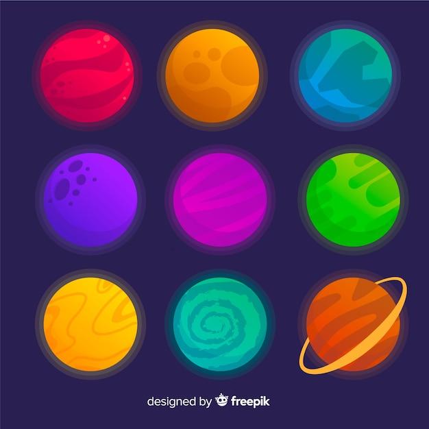 フラットなデザインの惑星コレクション 無料ベクター