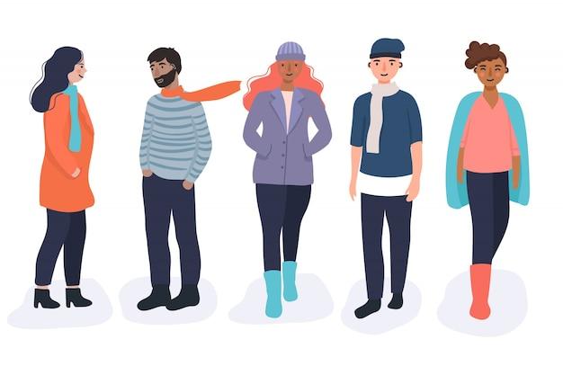 Коллекция разных людей в осенней одежде Бесплатные векторы