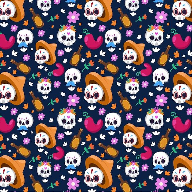 Бесшовный фон с цветочными белыми черепами Бесплатные векторы