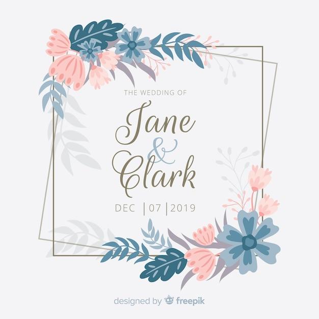 Плоский дизайн цветочной рамки свадебного приглашения Бесплатные векторы