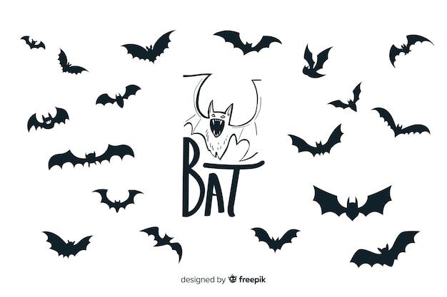 Коллекция летучих мышей хэллоуин Бесплатные векторы
