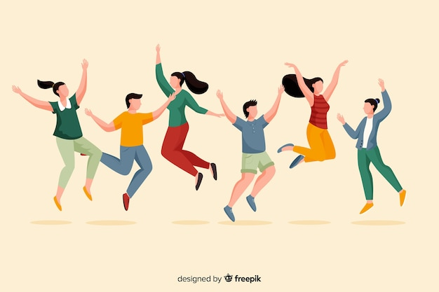 Группа молодых людей, весело иллюстрированных Бесплатные векторы
