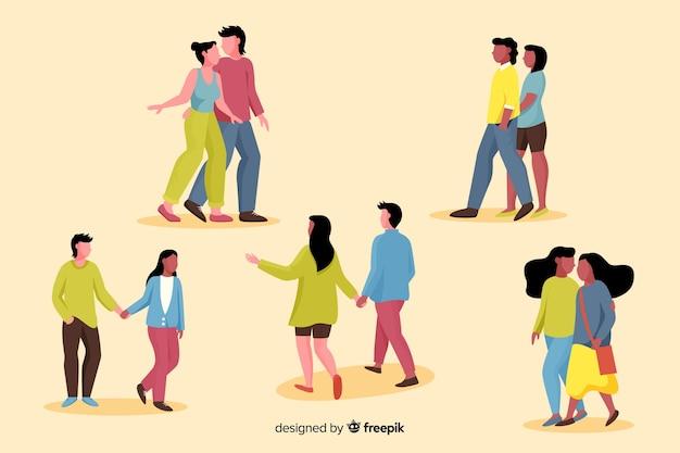 パックを歩く若いカップルのイラスト 無料ベクター