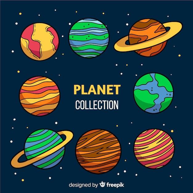 Концепция коллекции астрологической планеты Бесплатные векторы