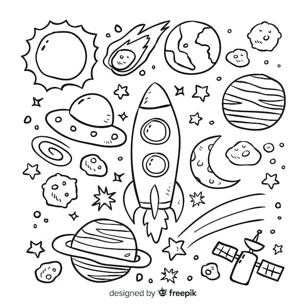 Концепция коллекции рисованной планеты Бесплатные векторы
