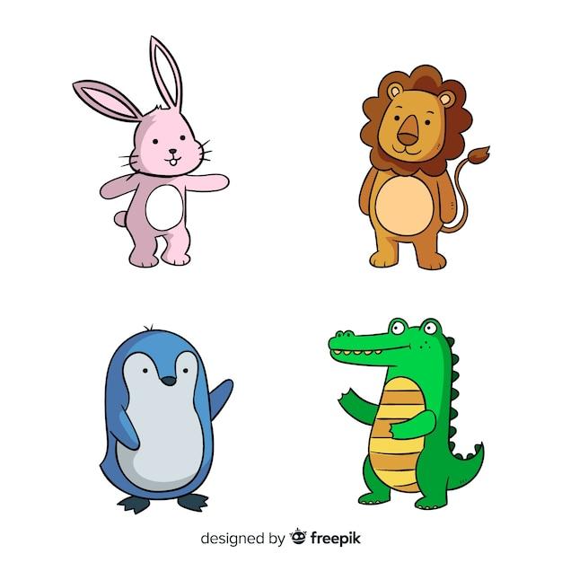 Концепция коллекции мультфильмов животных Бесплатные векторы