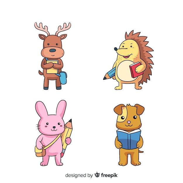漫画動物コレクションデザイン 無料ベクター
