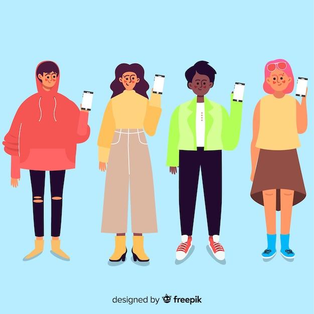 スマートフォンを保持している漫画のキャラクターグループ 無料ベクター