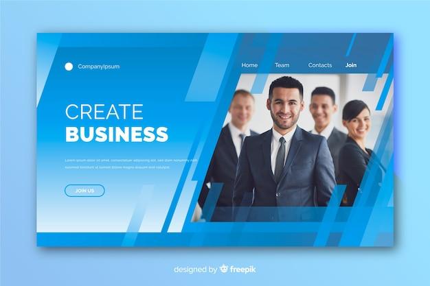 写真付きのビジネスランディングページ 無料ベクター