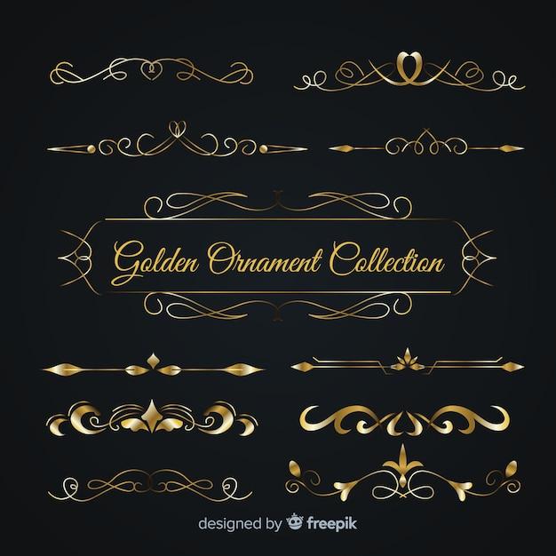 豪華な黄金の飾りコレクション 無料ベクター