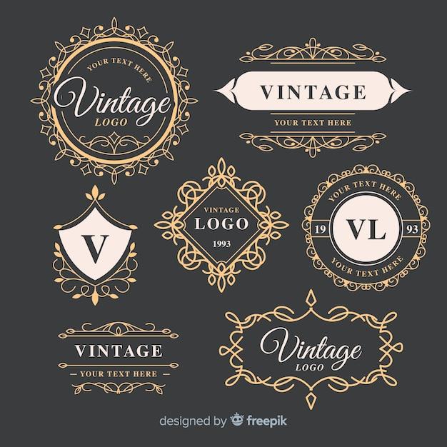 ビンテージ装飾ロゴコレクションテンプレート 無料ベクター