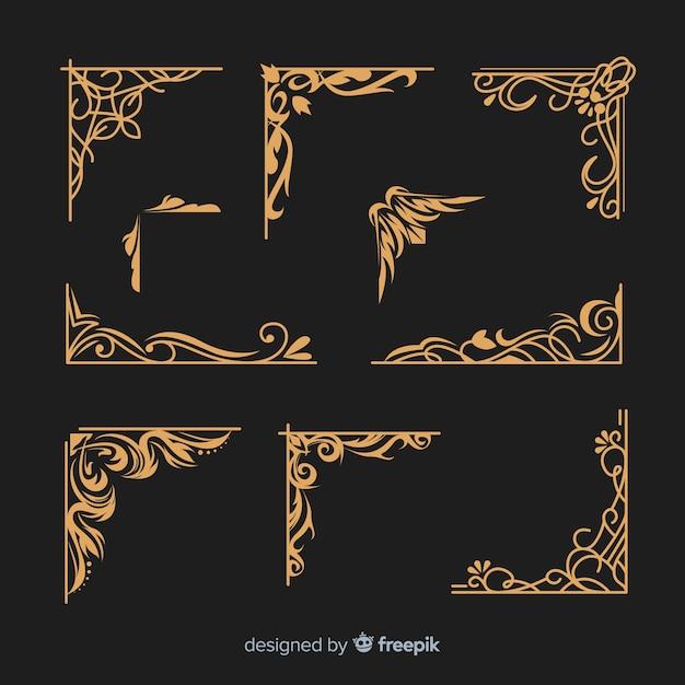 Коллекция золотых бордюров Бесплатные векторы