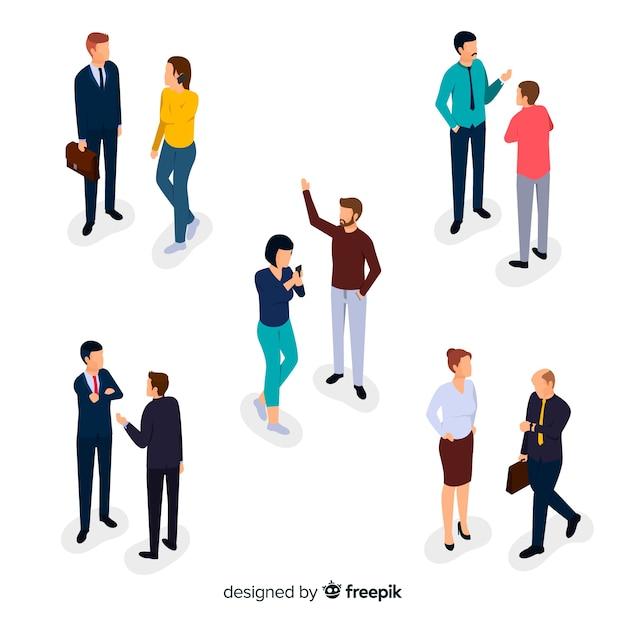 Коллекция изометрических деловых людей, говорящих Бесплатные векторы