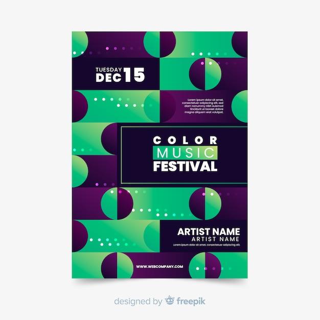Красочный геометрический музыкальный плакат шаблон Бесплатные векторы