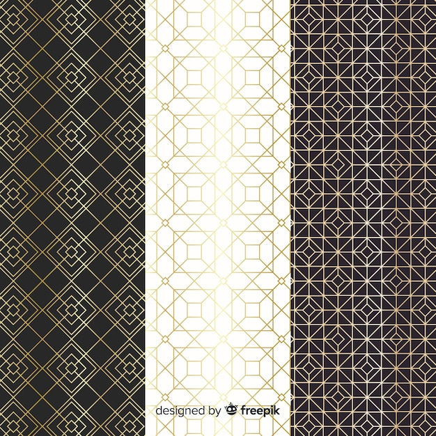幾何学的な高級パターンコレクションデザイン 無料ベクター