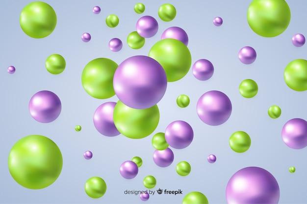 流れる光沢のあるボールの背景 無料ベクター