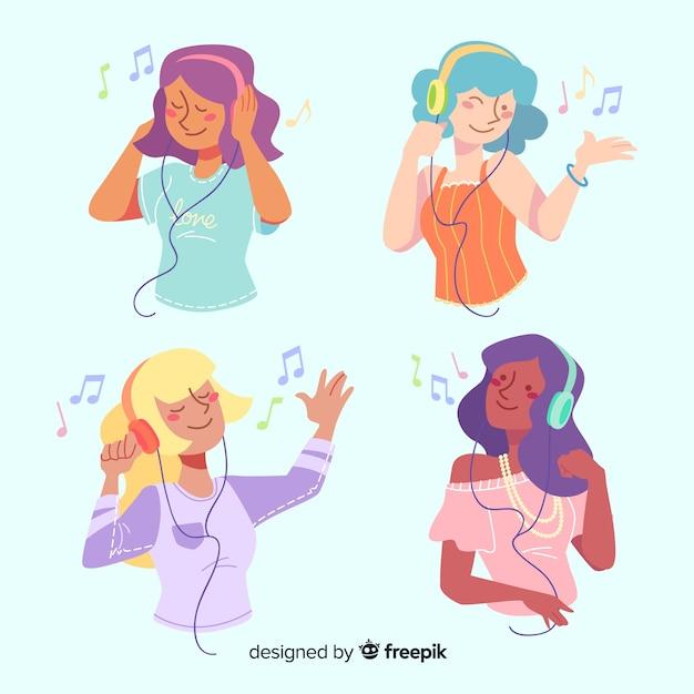 音楽を聴く若者のコレクション 無料ベクター