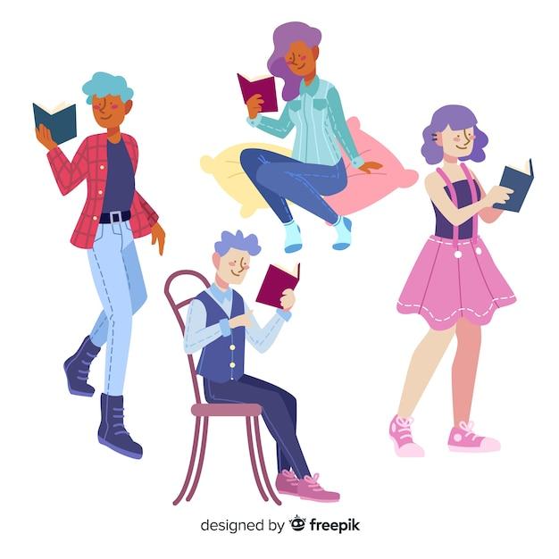 デザインを読むグループキャラクター 無料ベクター
