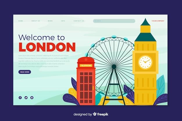 Добро пожаловать на лондонскую целевую страницу Бесплатные векторы