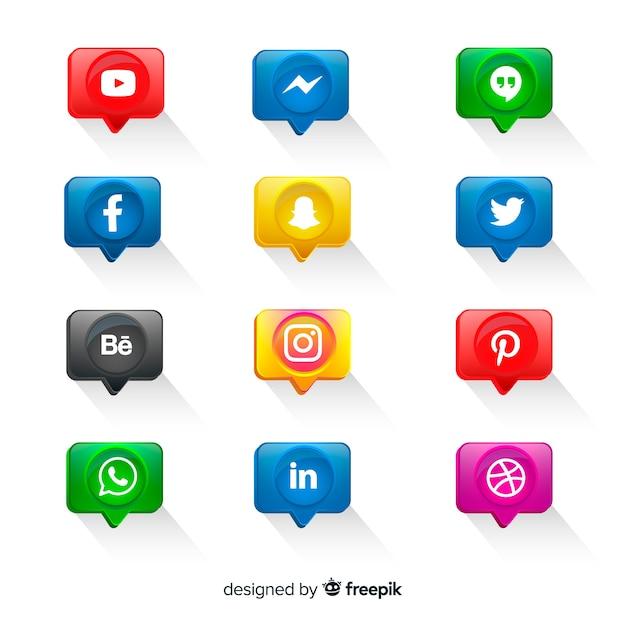 Реалистичные кнопки с логотипом в социальных сетях Бесплатные векторы
