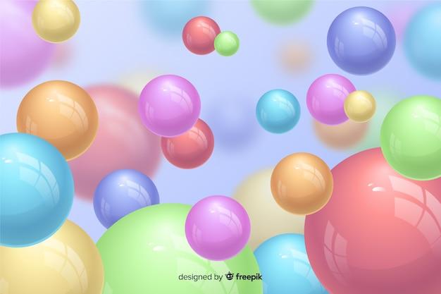 現実的な流れる光沢のあるボールの背景 無料ベクター