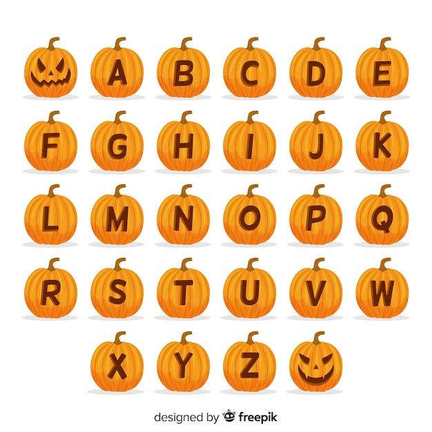 ハロウィンかぼちゃのアルファベット 無料ベクター